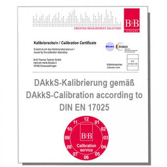 Standard DAkkS Kalibrierschein für Temperaturfühler