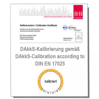DAkkS Kalibrierschein für Kontakt-Temperaturmesssysteme